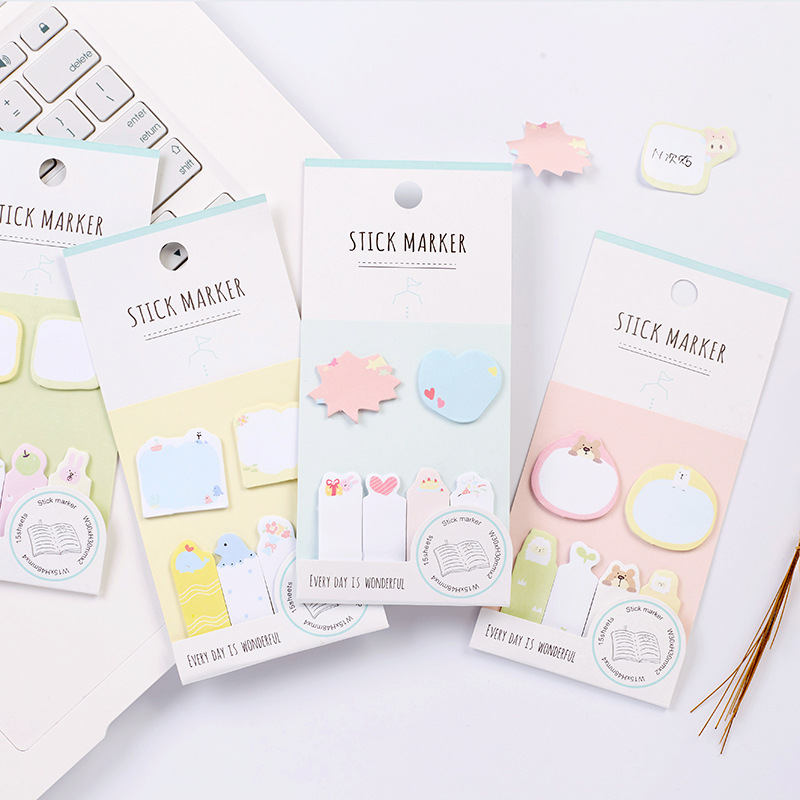 F05 1X Kawaii Forest Animals Memo Pads Sticky Notes Post it Planner Writing Sticker Kids Student Stationery Notepads