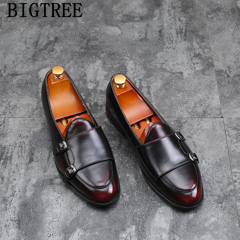 Double Monk Strap Shoes Italian Brand Loafers Men Formal Shoes Leather Big Size Leather Shoes Men Elegant Sepatu Slip On Pria