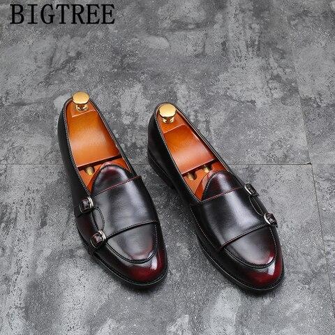 double monk strap shoes italian brand loafers men formal shoes leather big size leather shoes men elegant sepatu slip on pria Pakistan