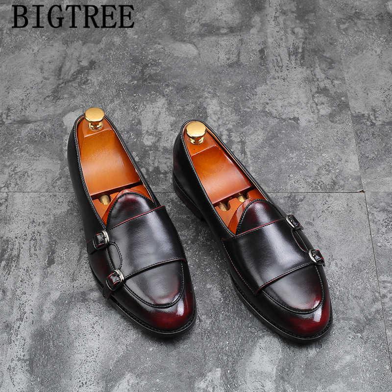 Çift keşiş askısı ayakkabı İtalyan marka loafer'lar erkekler resmi ayakkabı deri büyük boy deri ayakkabı erkekler zarif sepatu üzerinde kayma pria