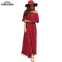 POLKADOT 2016 Bohemia Sexy Strapless Dress Summer Beach Cotton Dress Flounces Sleeveless Holiday Long Dresses