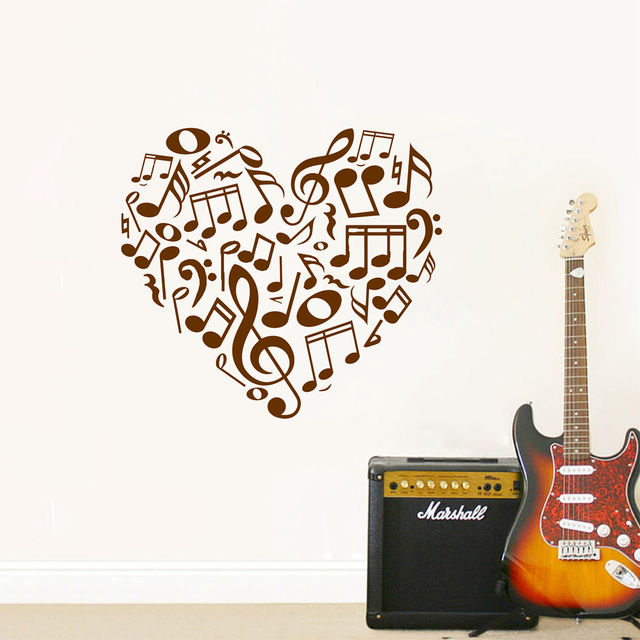 Free Shipping 52x51cm New Design Creative Music Notes Wall Stickers