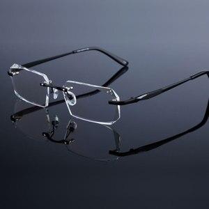 Image 5 - Fashion Eyeglasses Diamond Trimming Cutting Rimless Eyeglasses Prescription Optical Glasses Frame for Men Eyewear