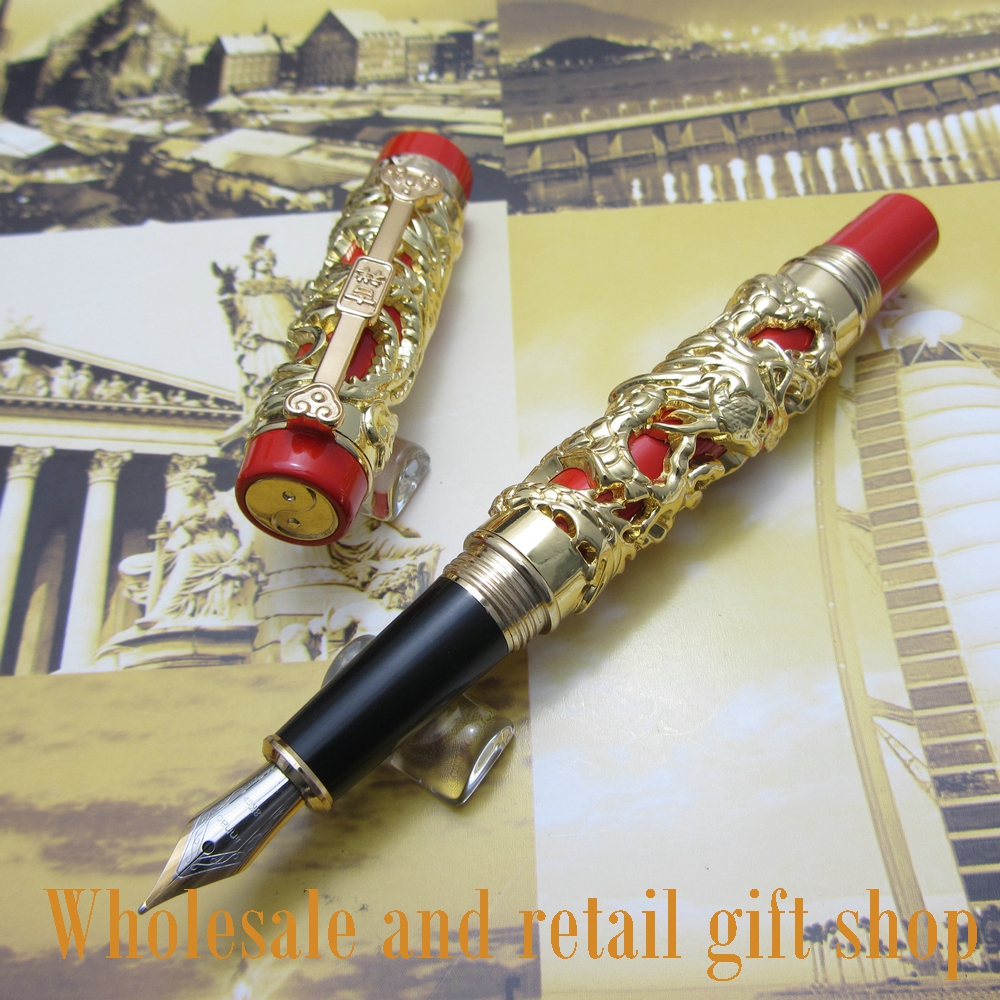 Jinhao Long Feng heavy gold red Chinese Classical luck clip Dragon fountain pen and pen bag fountain pen jinhao j200 dragon and phoenix antique gold and red screw heavy pen chinese auspicious dragon