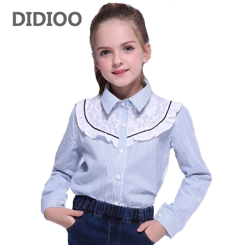 df8e070b6 Blusas para niñas camisas de encaje para bebés Tops con volantes camisetas  de manga larga para niñas adolescentes uniformes escolares 9 12 14 años ...