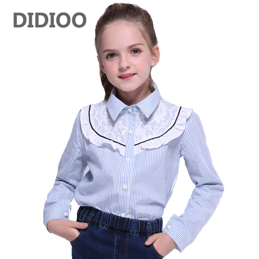 Child Blouses for Girls Lace Shirts Baby Ruffles Tops Teenage Girls Long Sleeve School Uniform Shirts 9 12 14 Years Kids Blouses dabuwawa black lace blouses stand collar lace shirt women long sleeve ruffle blouse bow sexy elegant blouses and tops d17cst059