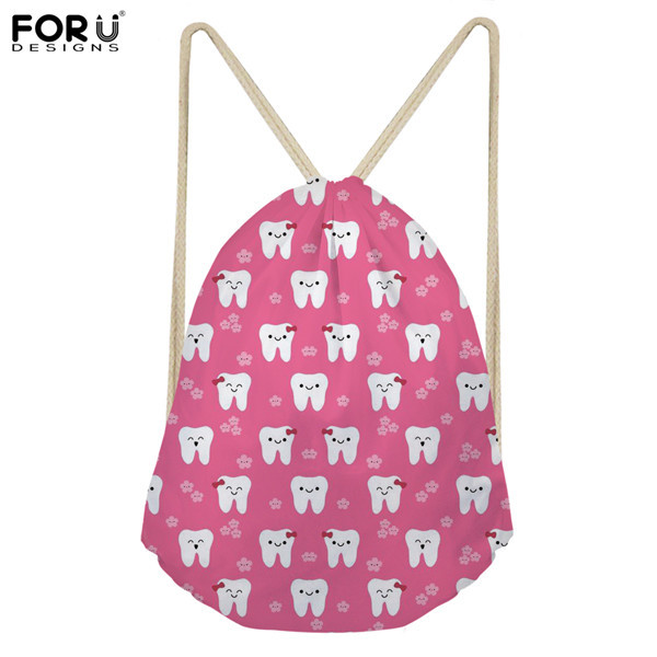 FORUDESIGNS Pink Women Drawstring Bag Cute DentistNurse Pattern Mesmerizing Drawstring Bag Pattern