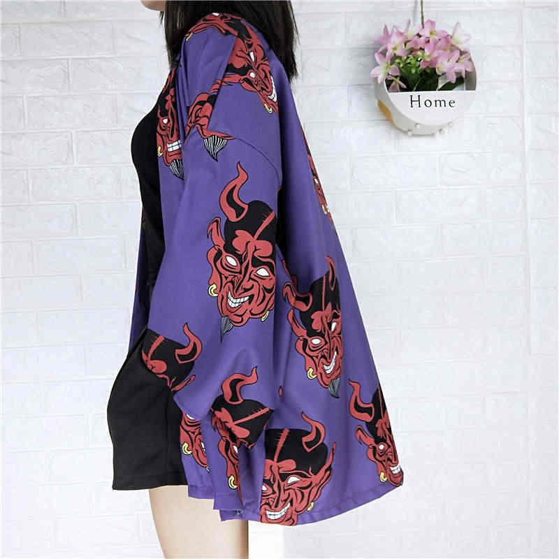 2019 Nieuwe Zomer Japanse Kimono Vest Zon Bescherming Losse Blouse Uitloper Femme Harajuku Duivel Gedrukt Shirts