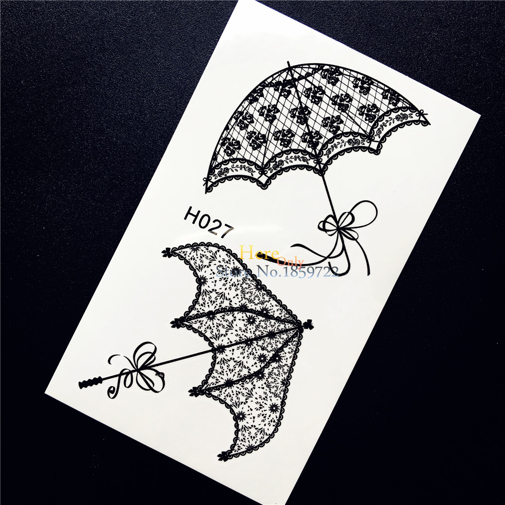 1PC Summer Style Women Body Art Tattoo Black Lace Umbrella Design Waterproof Arm Leg Decals Temporary Fake Tattoo Stickers HH027