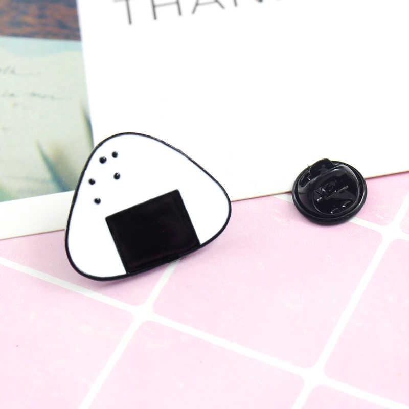 การ์ตูนน่ารักสีขาวข้าว Ball เข็มกลัดซูชิเข็มกลัดเคลือบอาหารญี่ปุ่นซูชิ Enamel Pin อุปกรณ์เสริมเครื่องประดับ Badge ของขวัญเด็ก