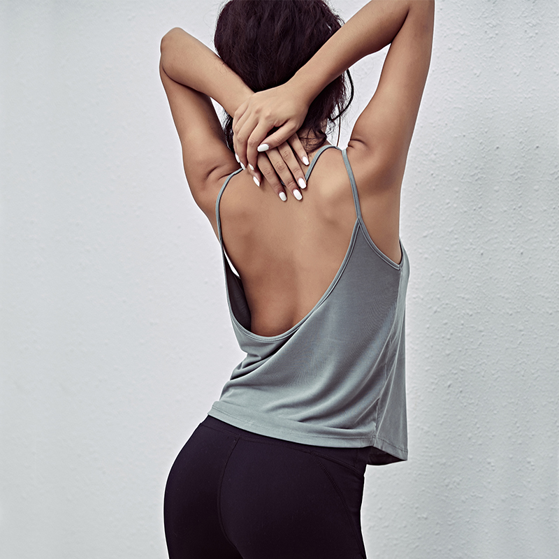 Oyoo Backless Sports Tank Tops For Women Pink Sleeveless Gym Yoga Shirts White Workout Clothes women open back yoga tank top shirts sleeveless off shoulder sports t shirt backless crop tops racerback gym workout clothes