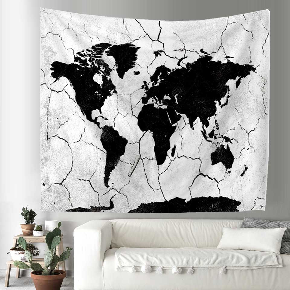 Cilected world map tapestry blue white abstract painting wall cilected world map wall tapestry black white printed hanging carpet home decor wall tapestry polyester gumiabroncs Choice Image