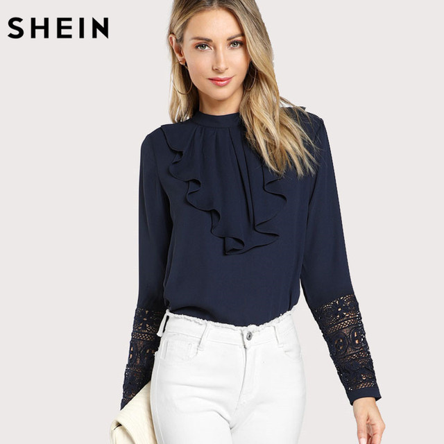 4448288fce390 SHEIN Navy Blue Ruffle Blouse Elegant Contrast Lace Button Round Neck Long  Sleeve Spring Keyhole Back Insert Lace Ruffle Top