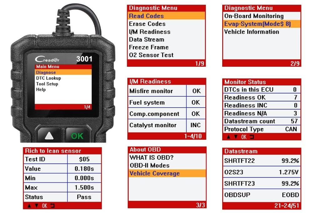 HTB1QJSgzKuSBuNjSsplq6ze8pXaN LAUNCH X431 CR3001 Full OBD2 Scanner OBD 2 Engine Code Reader Creader 3001 Car Diagnostic tool PK CR319 AD310 ELM327 Scan tool