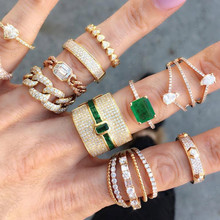 GODKI Luxus Geometrie Erklärung Stapelbar Ringe Für Frauen Hochzeit Cubic Zirkon Engagement Dubai Gold Braut Choker Finger Ringe