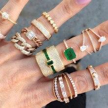 GODKI יוקרה הצהרת גיאומטריה Stackable טבעות לנשים חתונה מעוקב זירקון אירוסין דובאי זהב כלה קולר אצבע טבעות