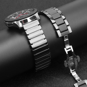 Image 2 - 20mm 20mm קרמי watchbandעבור Samsung S2 S2רצועת החזרהעבור לצפות Huawei 2שעון גלקסי 42/46פרפר אבזם רצועה