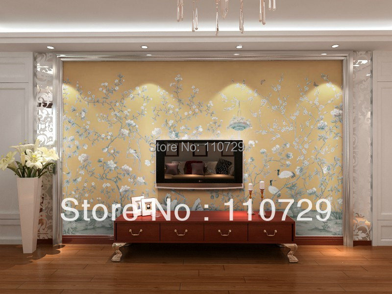 Hand painted silk wallpaper painting flower with birds hand-painted TV/Bedroom/living room/dinning/Sofa wallcovering paper book knowledge power channel creative 3d large mural wallpaper 3d bedroom living room tv backdrop painting wallpaper