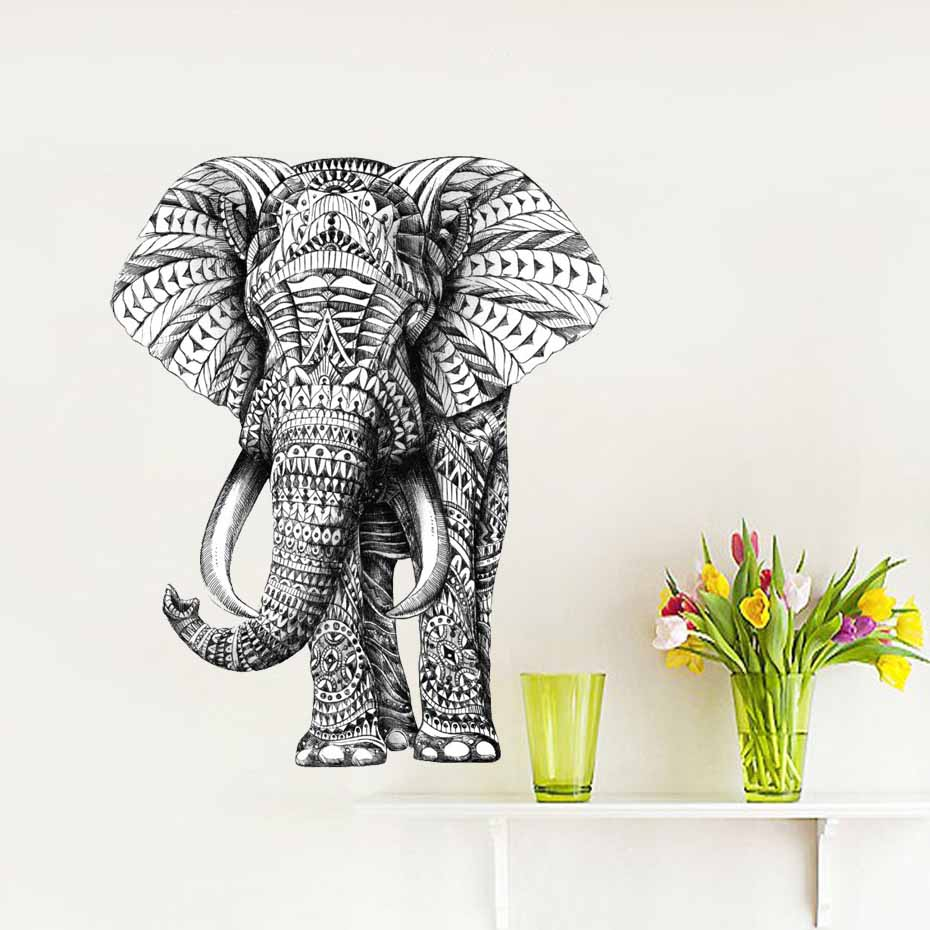 Elephant Animal Wall Sticker Abstract Design Retro Decals Art Bedroom Vinyl Self Adhesive Waterproof Wallpaper Home Decor