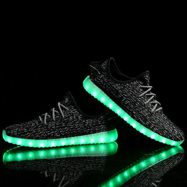 Сид нового Способа Обувь Для Взрослых Случайный USB Зарядки корзина неоновые плоские Светящиеся Огни Мужчины hollow Суперзвезда Homme Обувь Дешевые