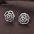 Fashion 925 Sterling Silver Rose Petals Flower Stud Earrings studs Women Pardy & Wedding Ear Studs fit Pandora Jewelry ER03