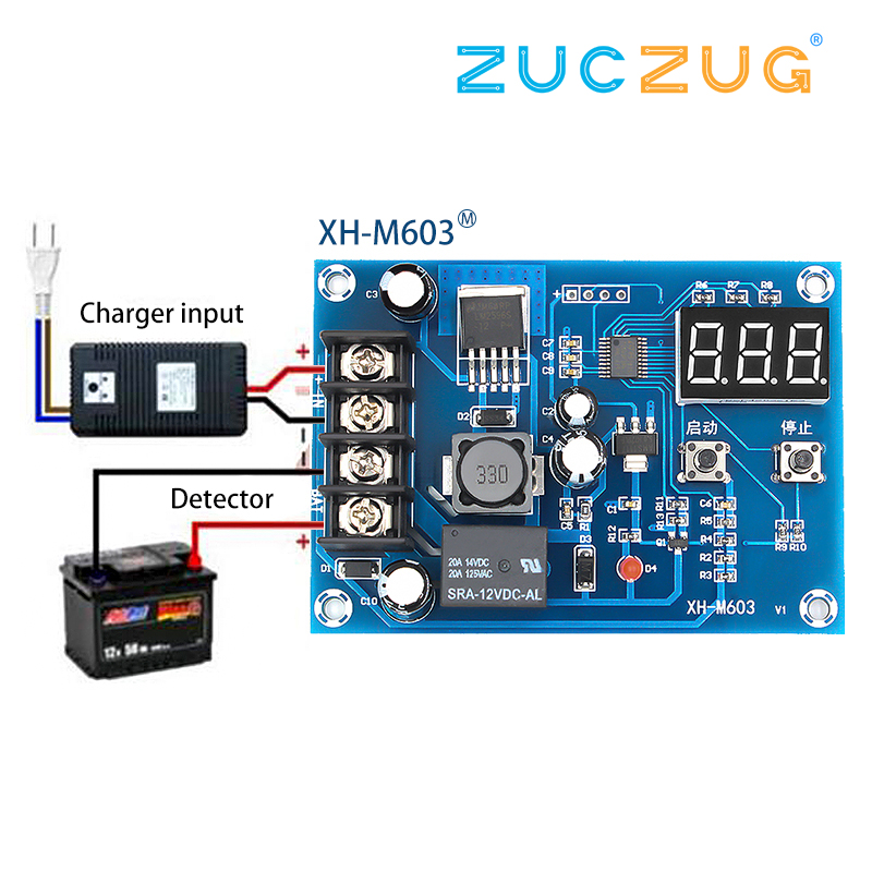 XH-M603 Charging Control Module Digital LED Display Storage Lithium Battery Charger Control Switch Protection Board 12-24V