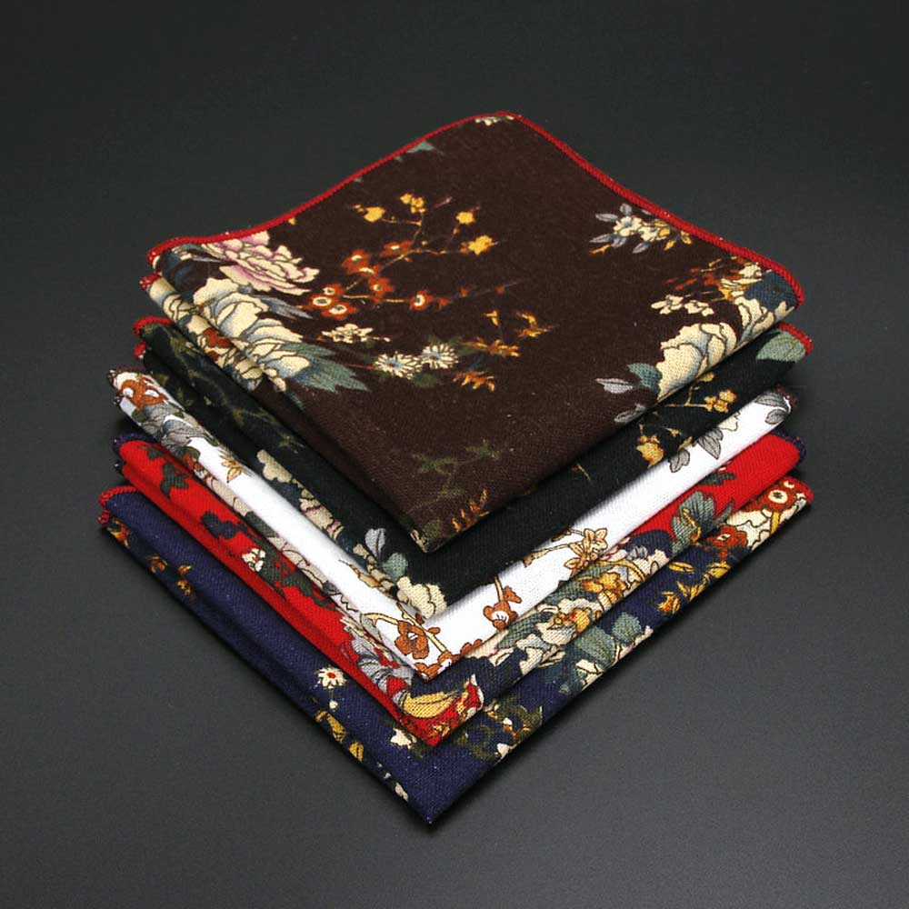 Men Vintage Linen Cotton Flower Pocket Square Wedding Party Handkerchief Hanky BWTYF0204