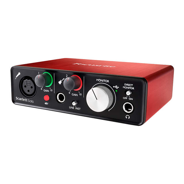 US $107 73 38% OFF|New Version Focusrite Scarlett Solo (2nd gen) 2 input 2  output USB audio interface sound card for recording Microphone Guitar-in