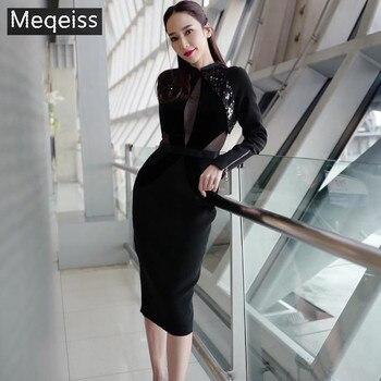2019 New Spring Bandage Dress Women Vestido Sexy Long Sleeve Black Sequin Club Dress Elegant Celebrity Evening Party Dress