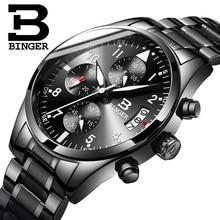 BINGER Sports Chronograph Men's Wrist Watches Black Steel Watchband Top Luxury B