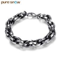 2017 Trendy Brand Design High Quality Titanium Steel Men Bracelets Bangles Vintage Big Cable Link Chain