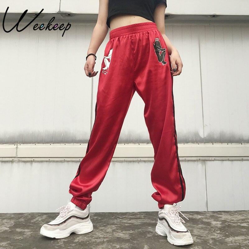 Weekeep diablo moda imprimir alta cintura pantalones mujeres elástico cintura lado satén raya lápiz pantalones Streetwear Pantalones