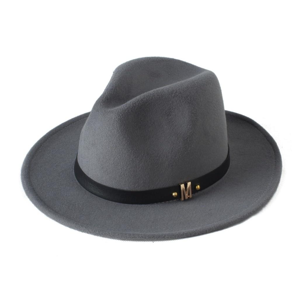Merek baru Wol pria Topi Fedora Untuk Pria Wol Hitam lebar Brim Panama Jazz  Gereja Topi Antik Topi Matahari Atas 20 di Fedoras dari Aksesoris Pakaian  ... 4be8c4d913