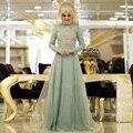 Menta Verde Vestido de Noite Muçulmano Manga Longa Pérolas Islâmico Dubai Abaya Kaftan Vestidos Hajib Festa À Noite Vestido de Baile Vestido de Baile