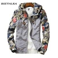 BSETHLRA 2018 Jackets Men Hot Sale Slim Fit Floral Printed Mens Hooded Jackets Hip Hop Trendy