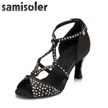 Samisoler Yellow/Skin/Black New Cloth Collocation Shine Ribbons Ballroom Rhinestone Fashion Dance Women Latin Competition Shoes
