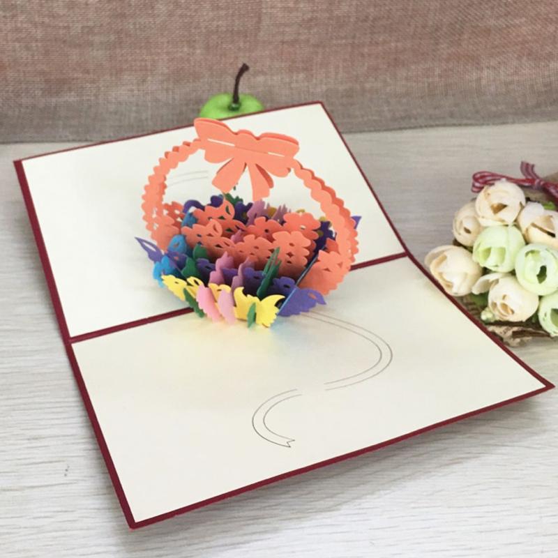 1pcs Flower Baskets Laser Cut Kirigami 3D Pop UP Greeting & Gift DIY Cards Handmade Creative Thanksgiving Day Birthday Gifts (6)