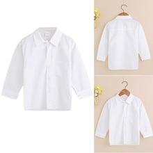 2018 Mode Jungen Shirt Formale Pure White Shirts für Kinder Jungen Heißer Verkauf Baumwolle Langarm Baby Tops Shirts