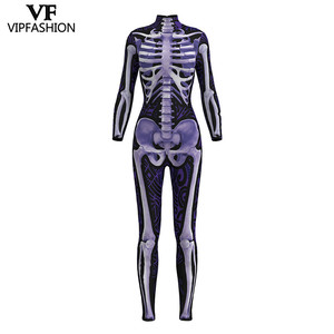 Image 5 - VIP FASHION 2019 New Goods 3D Skull Bone Skeleton Print Rompers Western Halloween Costumes For Ladies Jumpsuit Costplay Bodysuit
