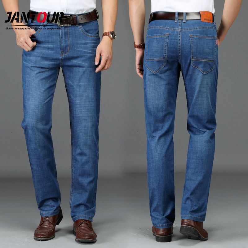 2018 new summer cotton Men Jeans Brands Casual Thin soft Slim Fit blue Jeans male Stretch work Denim fashion Pants Trousers Man kobeinc white jeans for women summer 2017 new casual fashion high waist printing slim fit cropped jeans trousers jeans femme