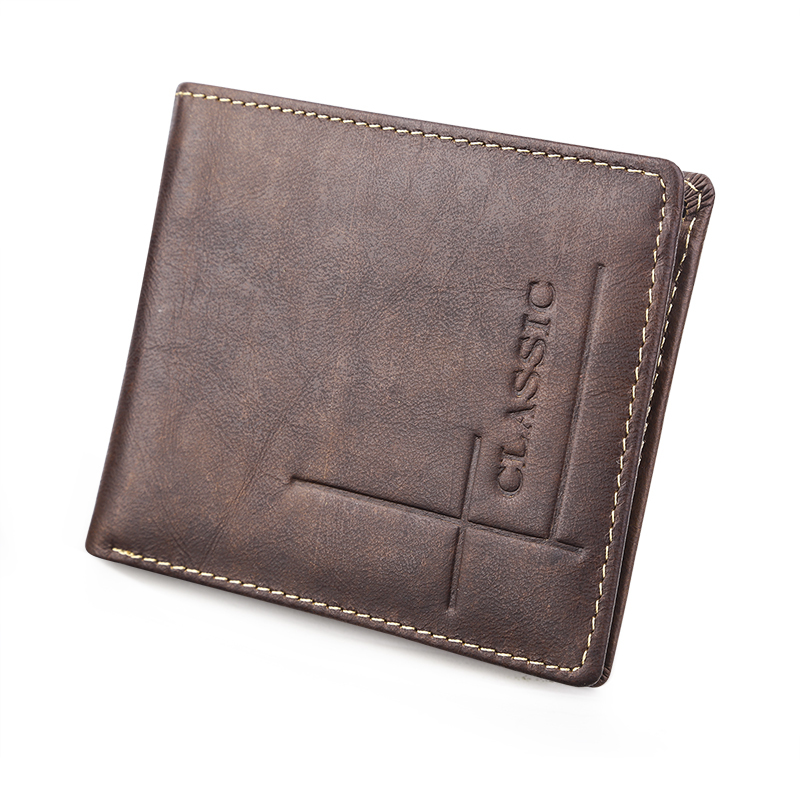 Brown Crazy Horse Cowhide Real Genuine Leather Wallets Men Bifold Clutch Coin Short Purses Pouch ID Card Dollar Holder For Gift brand wallets high quality real crazy horse leather wallet genuine leather cowhide long men clutch purse card holder