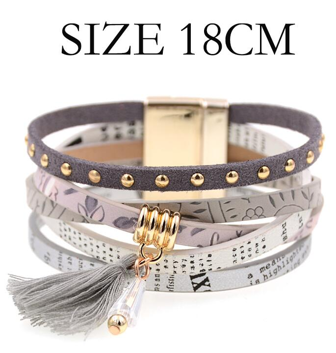 HASYH 18 Colors Charm Leather Bracelets for Women /& Men Multiple Layers Wrap Bracelets Couple Gifts Fashion Jewelry Wholesale Gray White 18cm