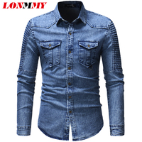 LONMMY Denim mens shirts casual slim fit camisa social Long sleeve Jeans shirt for male clothing 2018 Blouse men blusas gray