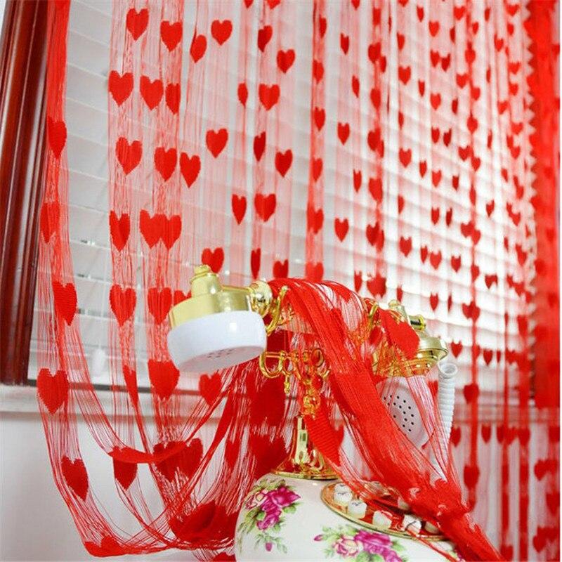 1pc Heart Tassel String Line Curtains for Wedding Home Living Room Bedroom Window Door Divider Hotel Cafe Valance Decorative
