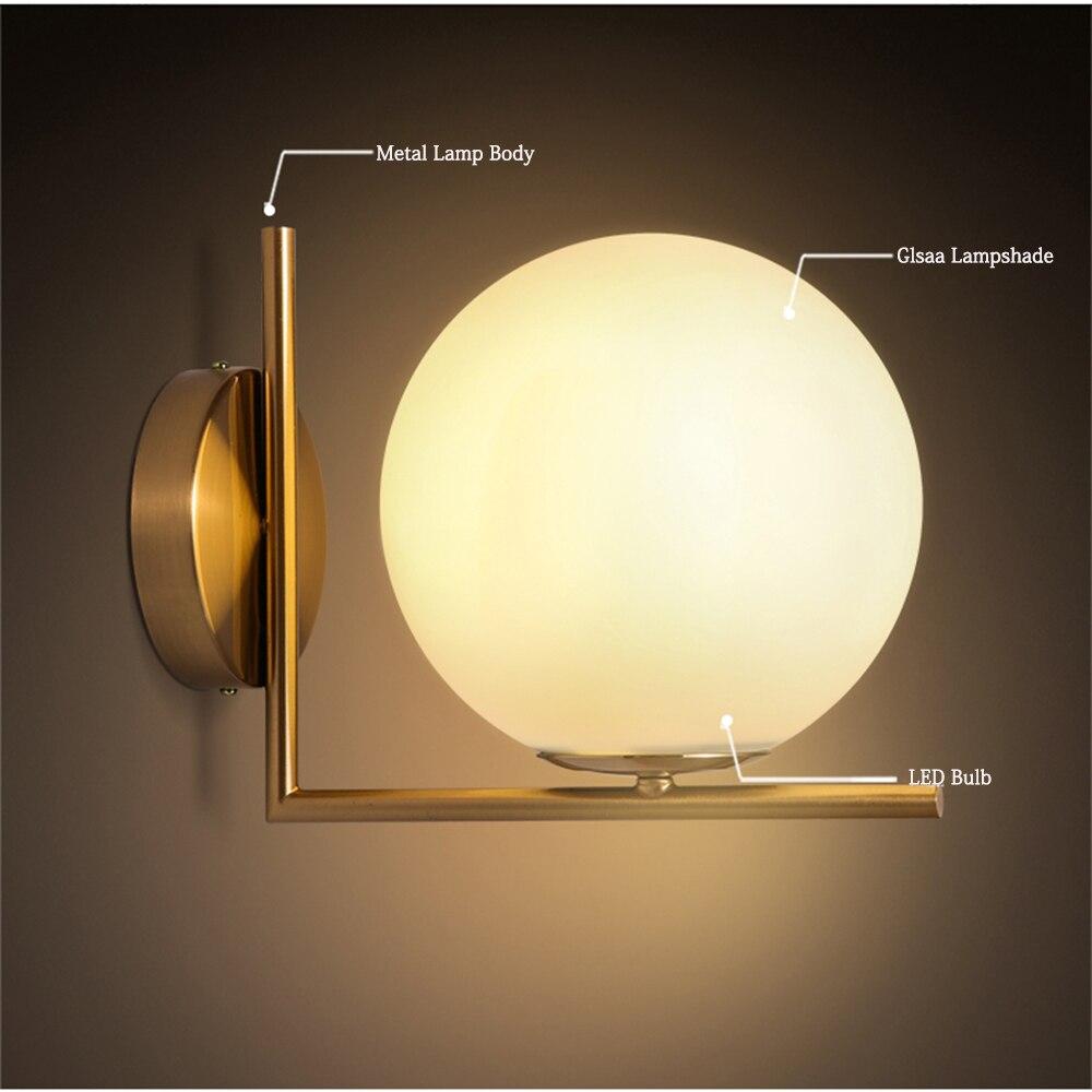 Modern Minimalist LED Wall Lights Round Ball Metal White Glass Shade ...