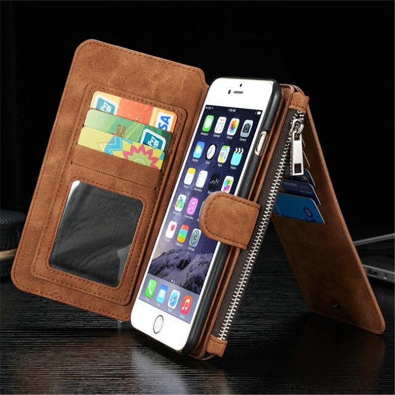 Цена за Для iPhone 6 S плюс 14 карт Слот держатель кошелек на молнии крышка Para Coque чехол для iPhone 6 S плюс 5.5 натуральная кожа телефон оболочки