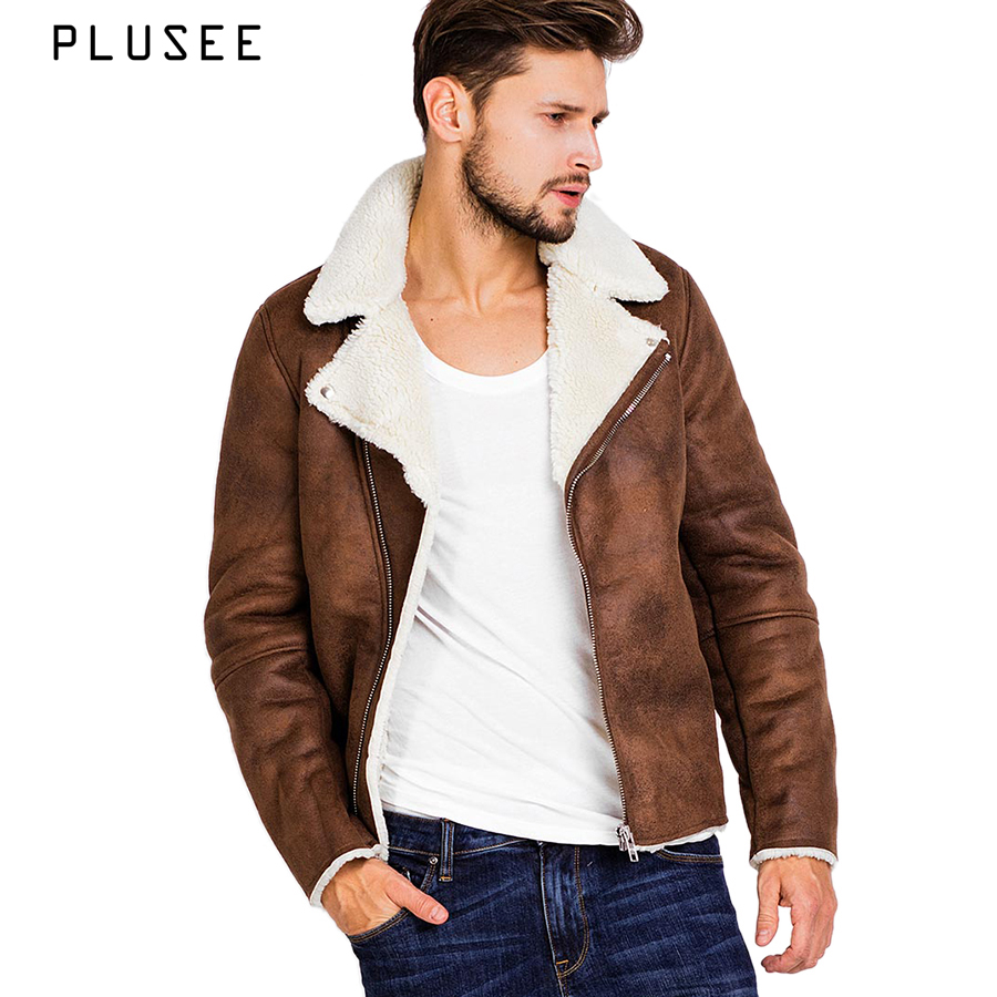 Plusee Faux Suede Jacket Men Brown Winter Leather