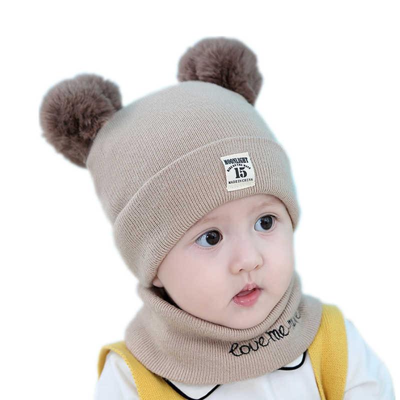 da65444230a ... Baby kids girl beanie hat cap set with scarf for winter Warm Crochet  Knit toddler boy ...