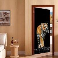 New 3D Door Stick Tiger Pattern Self adhesive Waterproof Wallpaper Decals Wall Stick for Livingroom Bedroom Home Door Decoration