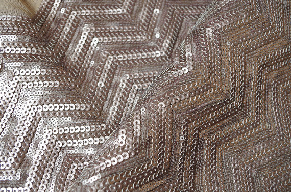 brown chevron Sequin Fabric Luxury Costume Fabric,by the yard, jsf006